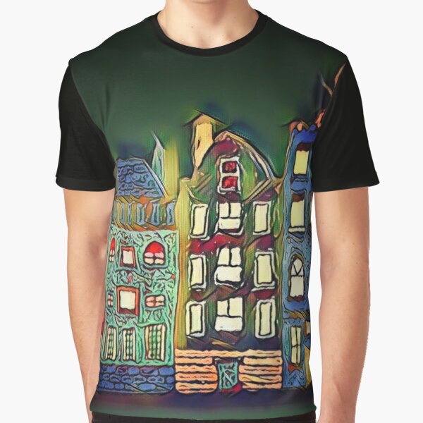 Tiny town night scene painting  Graphic T-Shirt