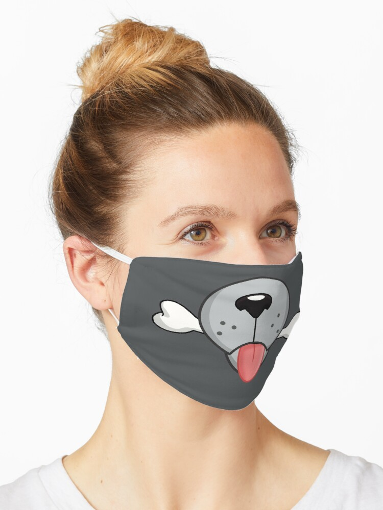 Gray Dog Cartoon Face Mask Mask By Mcelroystudios Redbubble