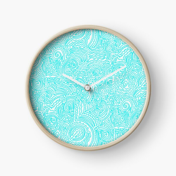 Turquoise Doodle Clock
