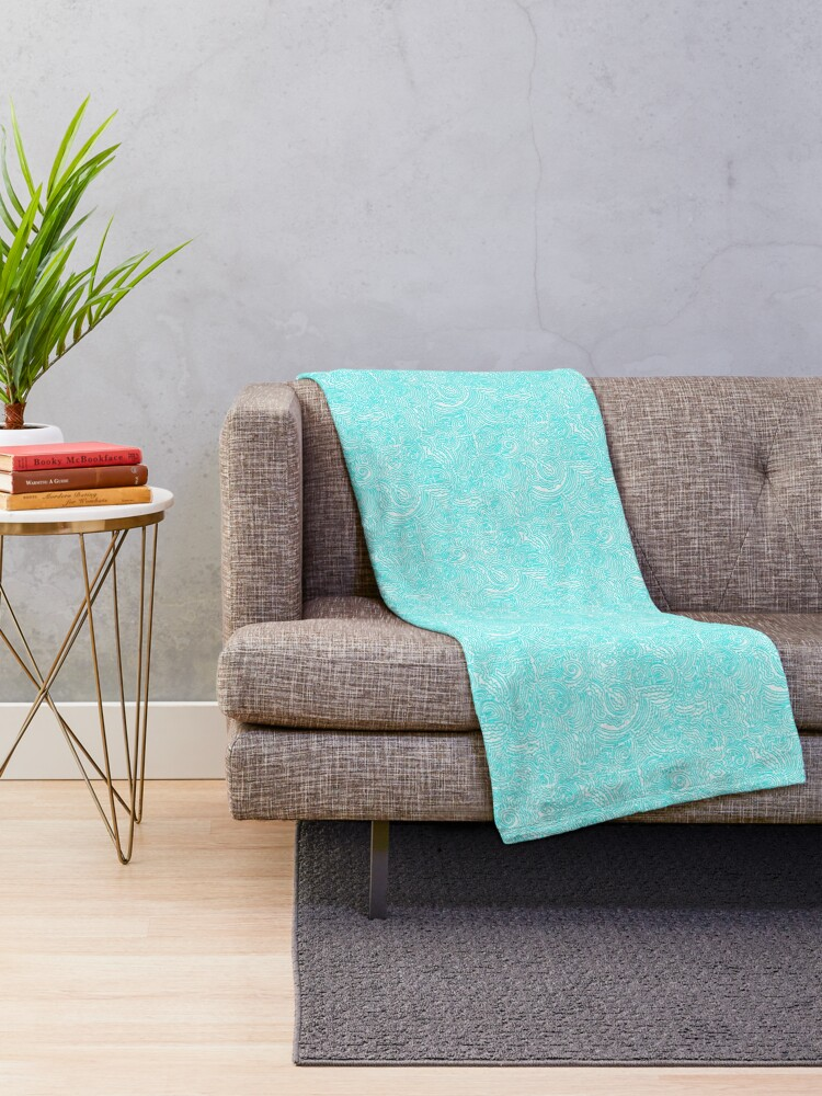 Alternate view of Turquoise Doodle Throw Blanket