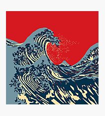 The Great Hokusai Wave Hope Election Style Photographic Print