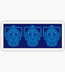 Snowflake Cyberman - Tardis Blue Sticker