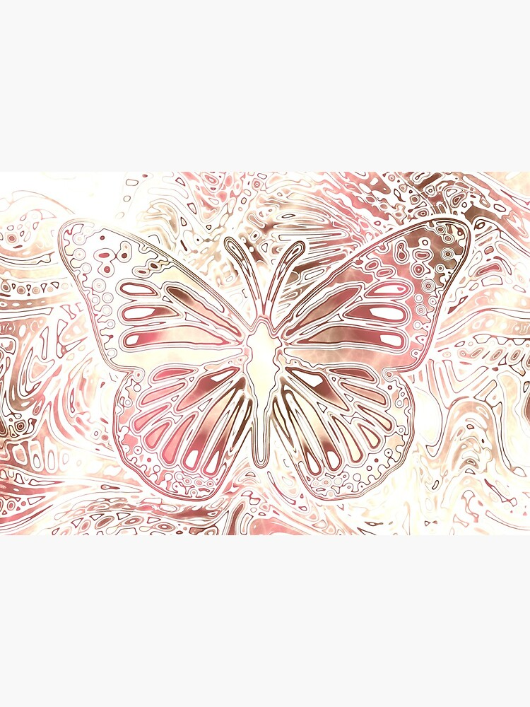 Monarch Butterfly Pattern Abstract Art Pastel Pink by RootSquare
