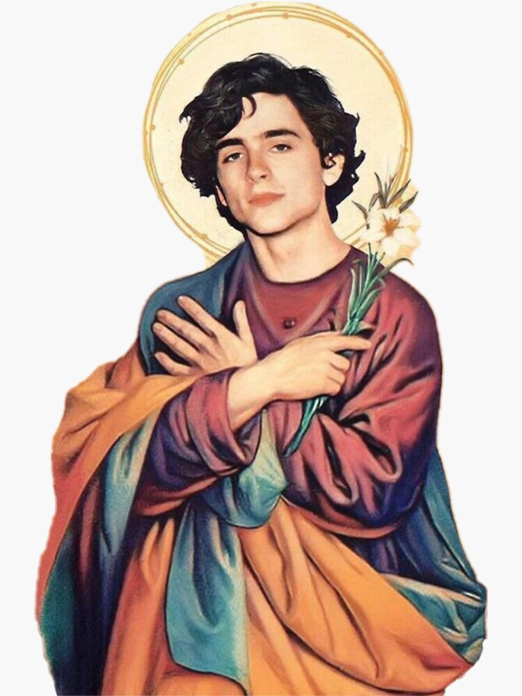 Timothee Chalamet Saint/God Sticker by ladybirddesigns