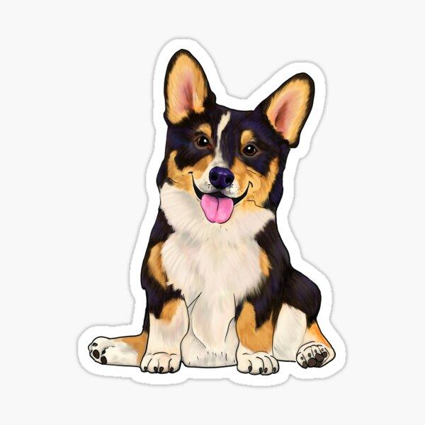 Cute sitting corgi tri color dog Sticker