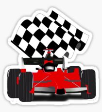 Red  Race Car with Checkered Flag Sticker