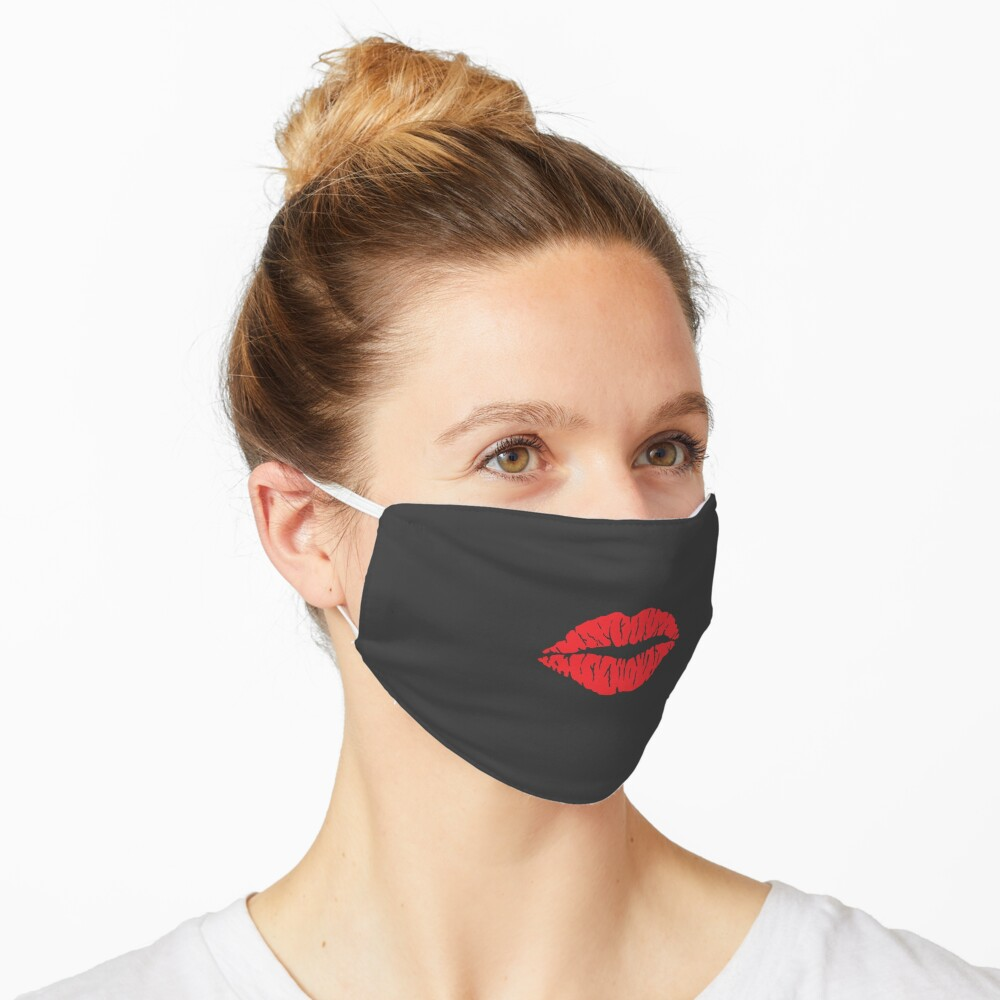 Red Lips Face Mask with Lipstick, Face Mask With Lips On It Stylish Face Mask Breathable Washable Face Mask Women Cute Mask