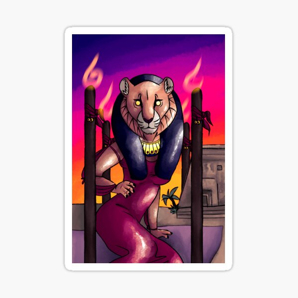 Sekhmet as the Four of Wands Sticker