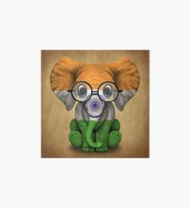 Baby Elephant with Glasses and Indian Flag Art Board