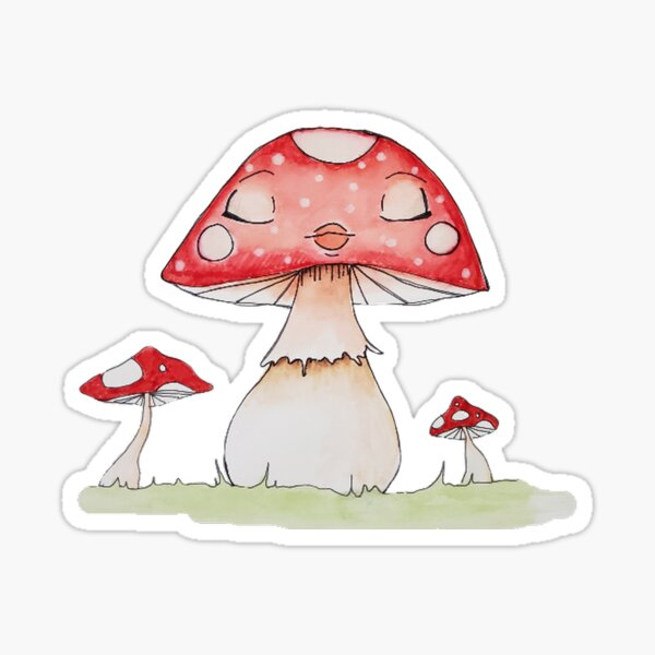 Sleeping Mushroom Girl in a Garden Sticker