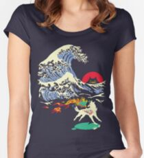 The Great Wave off Oni Island Women's Fitted Scoop T-Shirt
