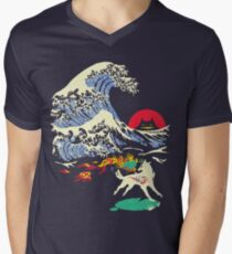 The Great Wave off Oni Island Men's V-Neck T-Shirt