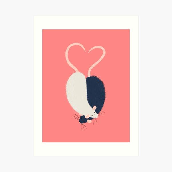 Ratty Love - Heart tails Art Print