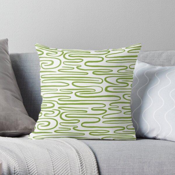 Green ripples Throw Pillow
