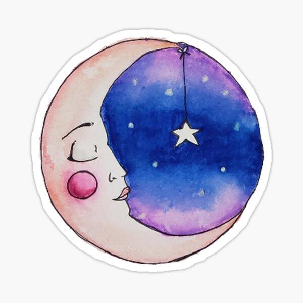 Sleeping Moon with Hanging Star Sticker