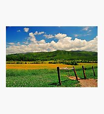 Mountain Valley with a Fence Photographic Print