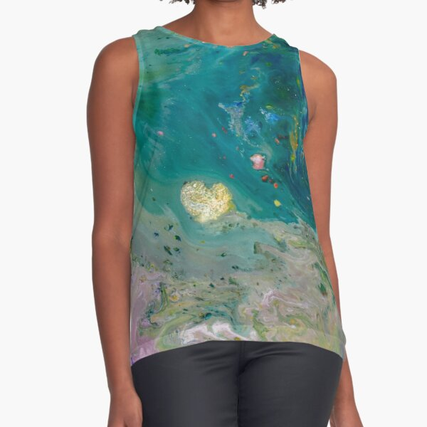 Golden heart in teal sea Sleeveless Top
