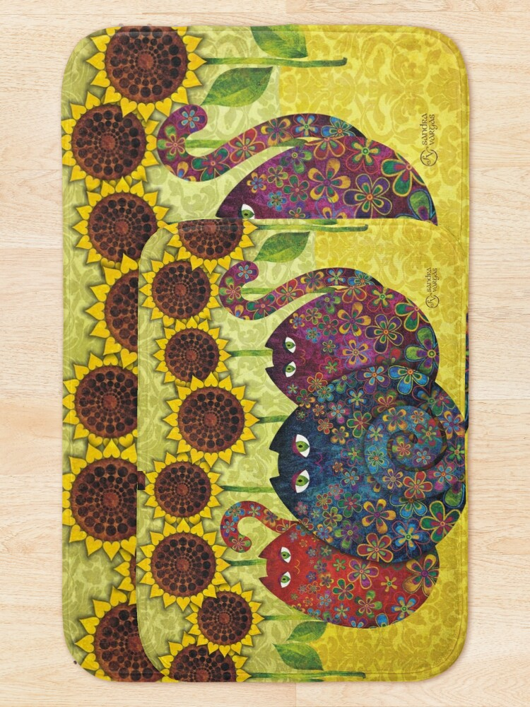 Alternate view of Cats With Sunflowers Bath Mat