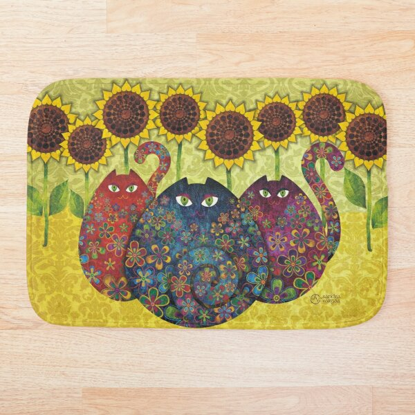Cats With Sunflowers Bath Mat