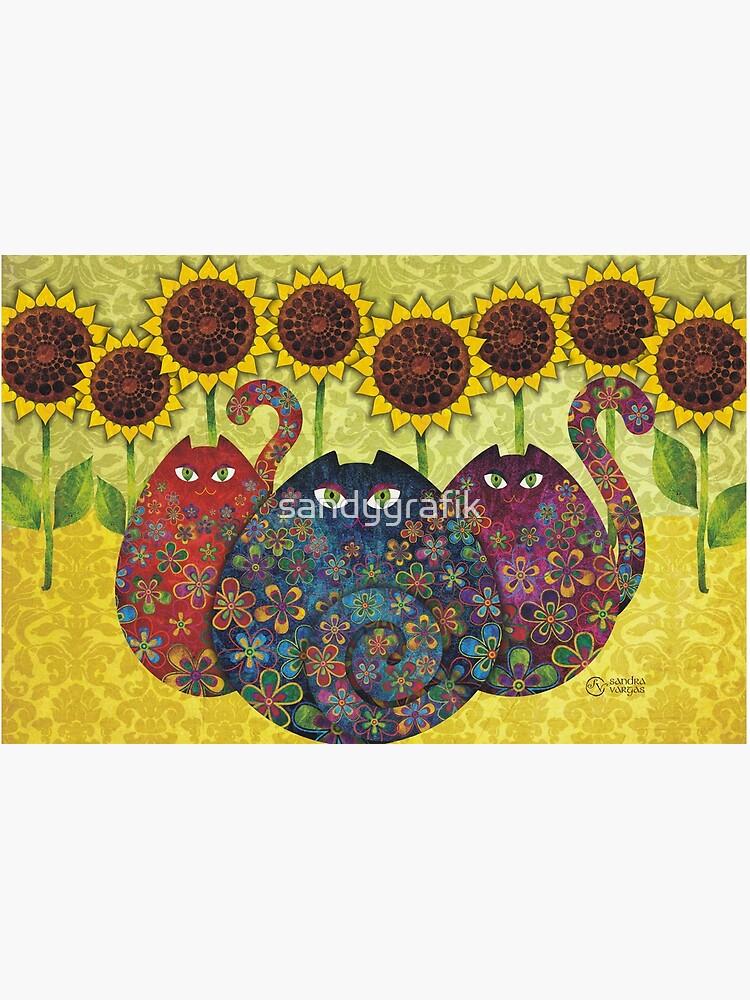 Cats With Sunflowers by sandygrafik