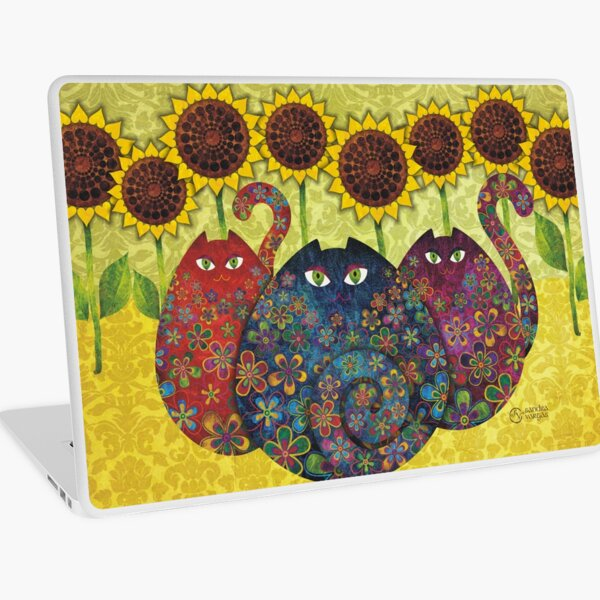 Cats With Sunflowers Laptop Skin