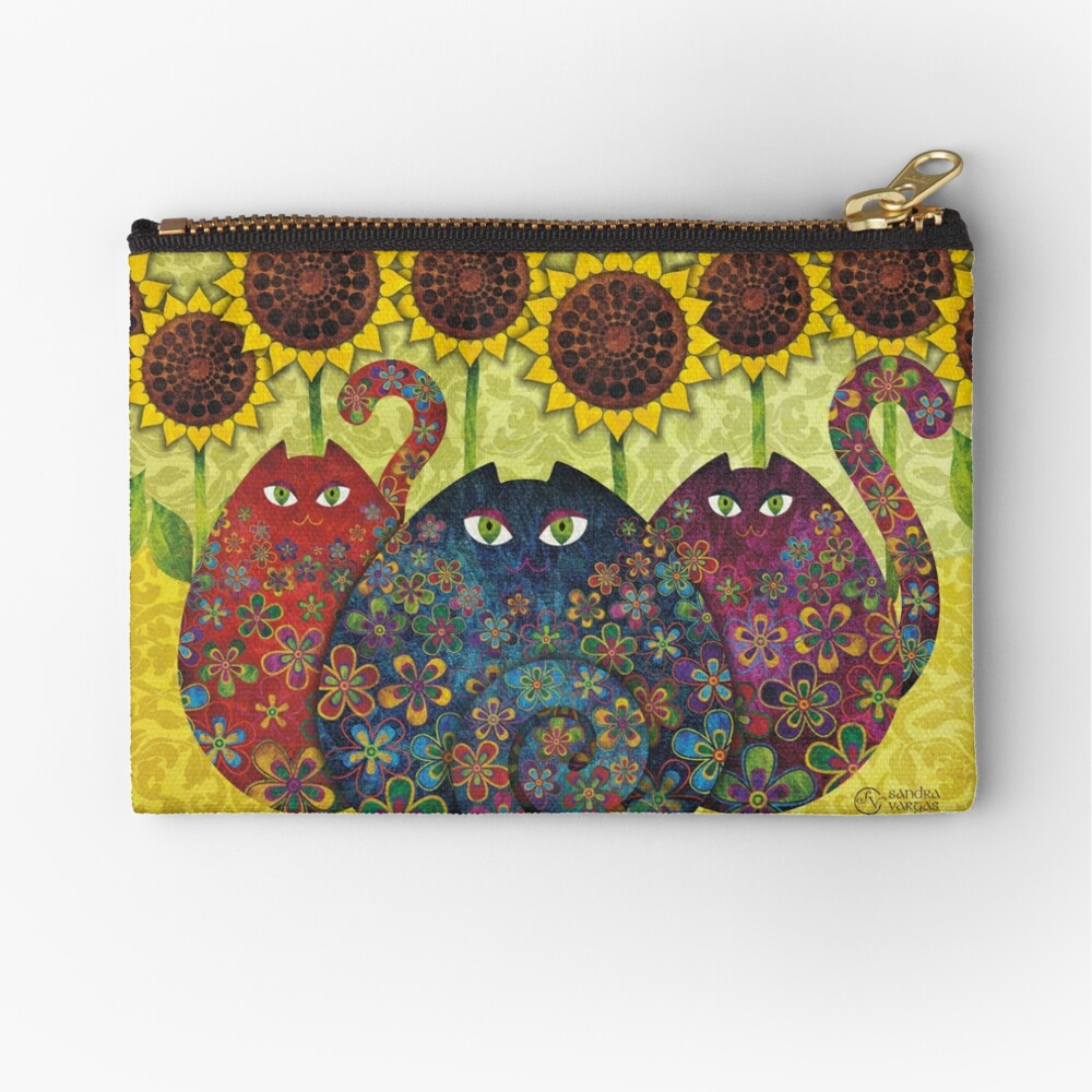 Cats With Sunflowers Zipper Pouch