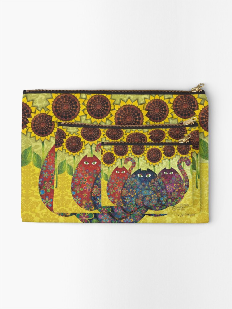 Alternate view of Cats With Sunflowers Zipper Pouch