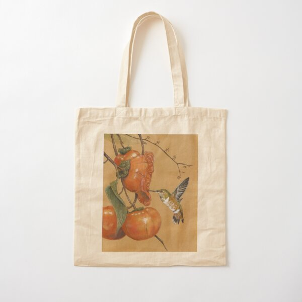 Hummingbird and Persimmons Cotton Tote Bag