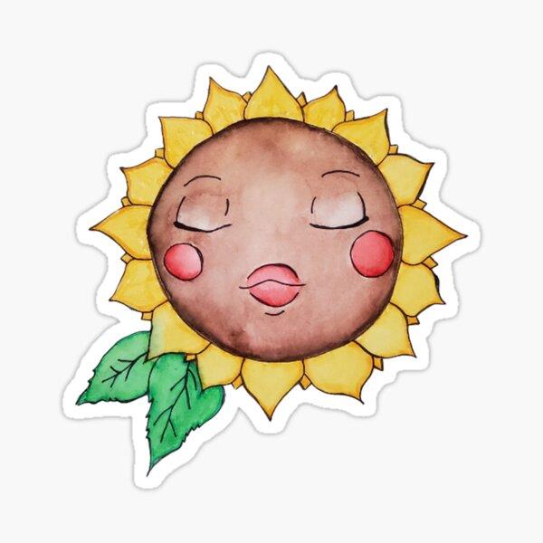 Sleepy Sunflower Girl Sticker