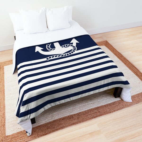Nautical Navy Blue Stripes and White Anchor Comforter