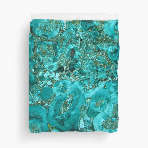 Marble Turquoise Blue Gold Duvet Cover