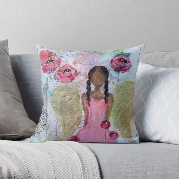 Angel of Growth, Black Angel, African American, Latina Throw Pillow