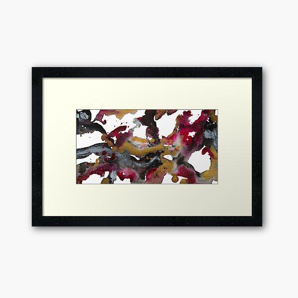 Red, black & gold Framed Art Print