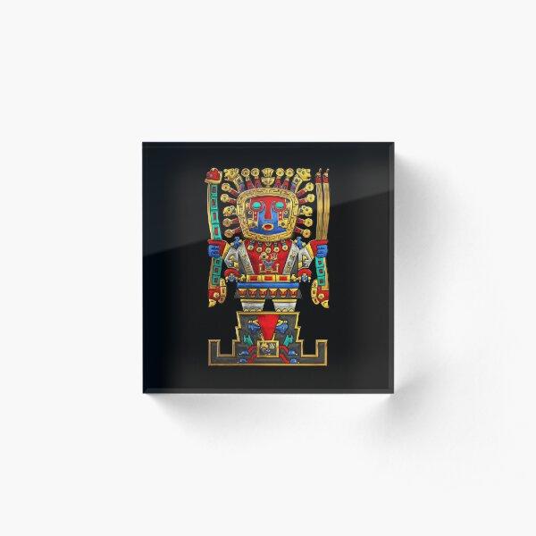 Incan Gods - The Great Creator Viracocha on Black Canvas Acrylic Block