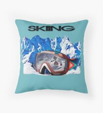 Vintage Snow Skiing gifts Throw Pillow