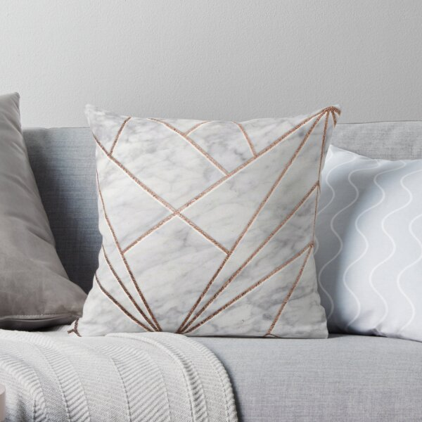 Rose geo designer marble Throw Pillow