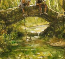 Two friends sitting by a river Sticker