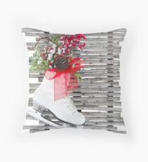 Christmas Ice Skate Shoes Vintage Rustic  Throw Pillow