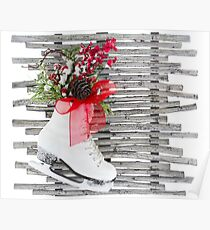 Christmas Ice Skate Shoes Vintage Rustic  Poster
