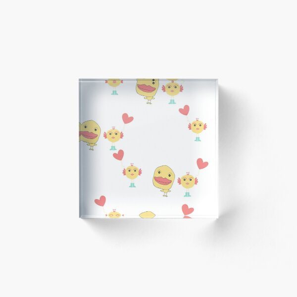 Doodle girl and duck  with red heart   design  Acrylic Block