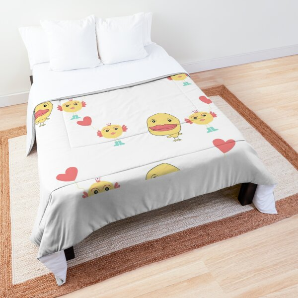 Doodle girl and duck  with red heart   design  Comforter