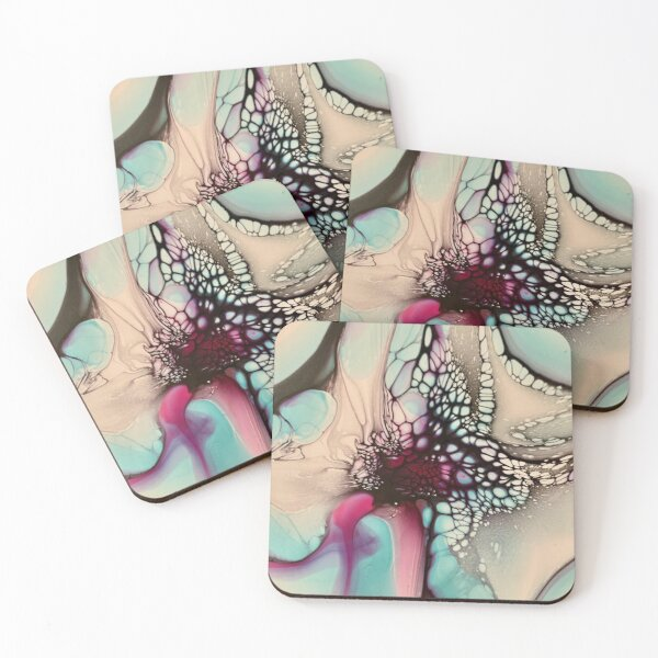 Magenta and Blue Abstract Flower Fluid Art Coasters (Set of 4)