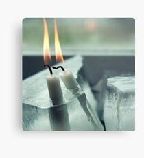 Frozen Lit Candles Metal Print