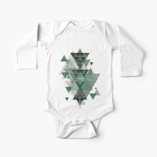 Emerald Green Geometric Long Sleeve Baby One-Piece