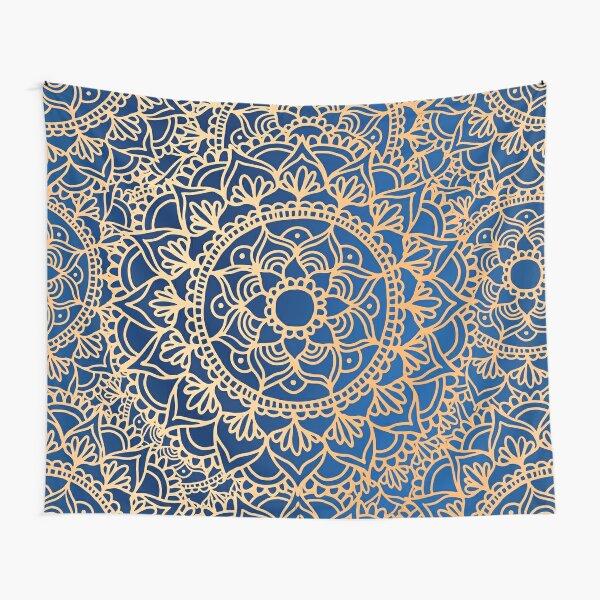 Blue and Gold Mandala Pattern Tapestry