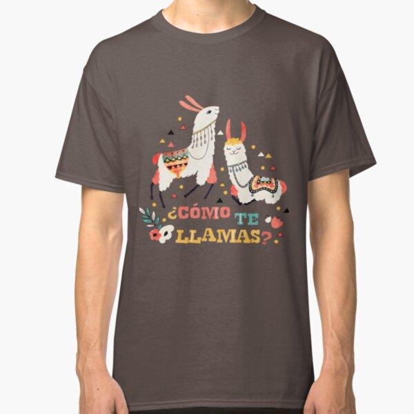 Como te Llamas. Funny Spanish Word Humor. Flowers and two Llamas Classic T-Shirt