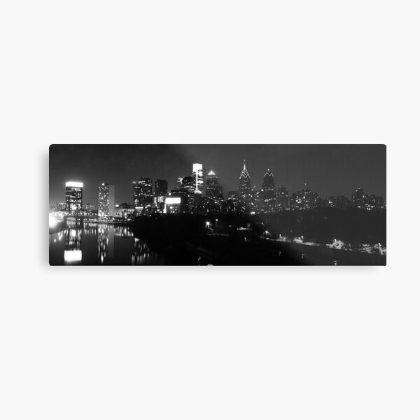 Philadelphia Skyline Panorama - Photo B&W Metal Print