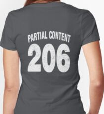 Team shirt - 206 Partial Content, white letters Women's Fitted V-Neck T-Shirt
