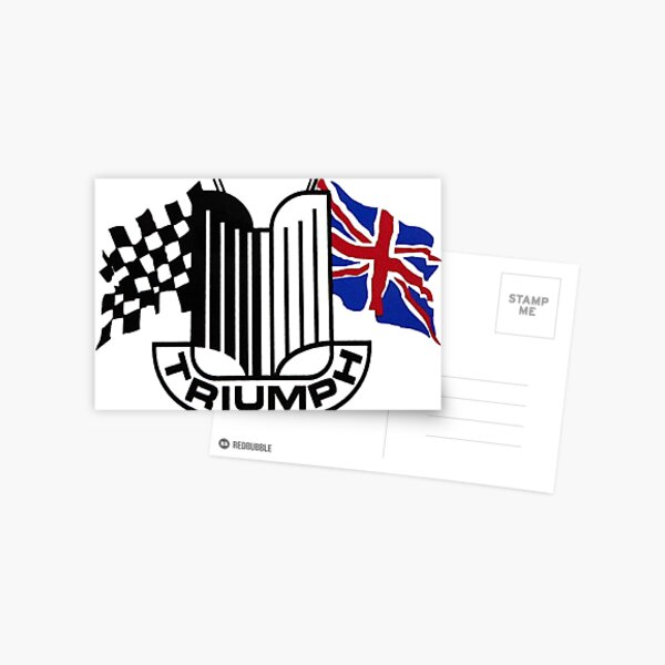 Triumph Shield with Checkered Racing and British Flag Postcard
