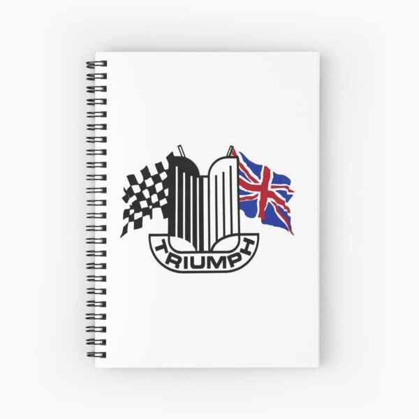 Triumph Shield with Checkered Racing and British Flag Spiral Notebook